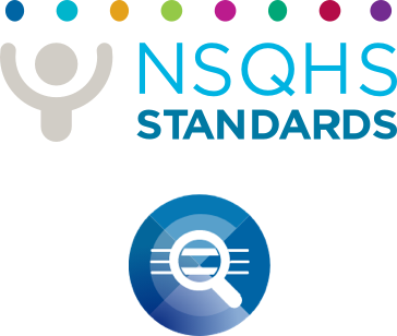 NSQHS logo and Clinical Governance Standard icon
