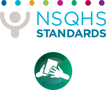 NSQHS logo and Communicating for Safety Standard icon
