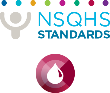 NSQHS logo and Blood Management Standard icon