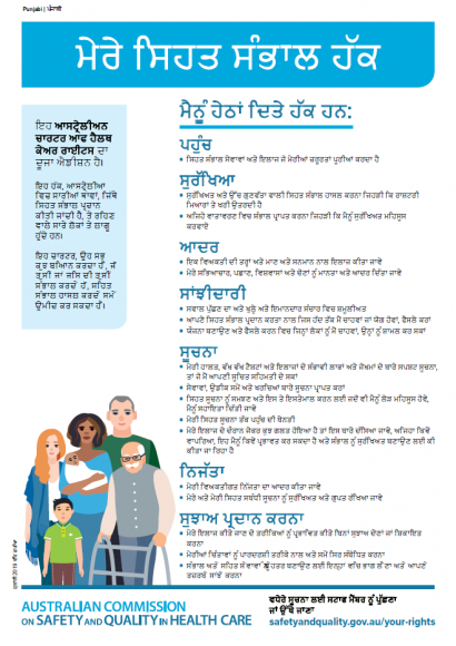 Fact sheet cover - Charter of Healthcare Rights - Punjabi