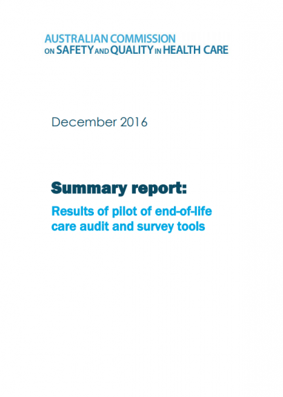 report cover-pilot of end-of-life care audit and survey tools