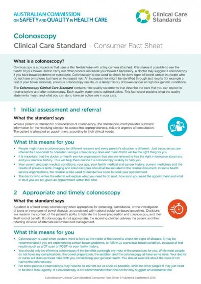 Thumbnail Colonoscopy Clinical Care Standard - Consumer Fact Sheet