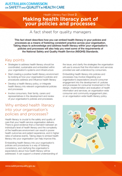PWC_Health_literacy_fact sheet 2 policy and procedures