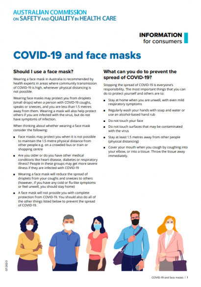 Information for consumers about wearing a face mask for COVID-19 protection