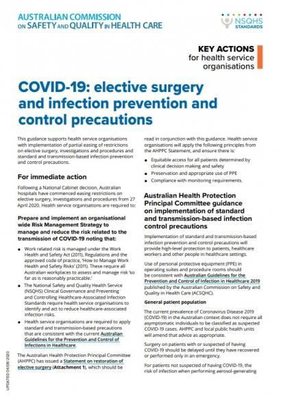 Covid-19: Elective surgery and infection prevention control precautions
