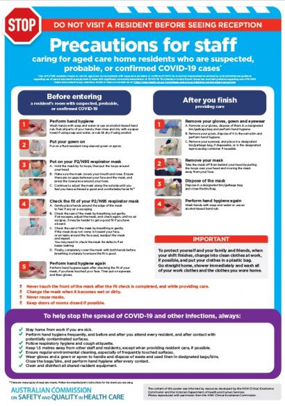 COVID-19: Aged care staff infection prevention and control precautions