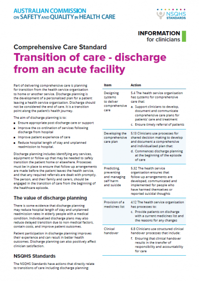 Transition of Care Fact Sheet