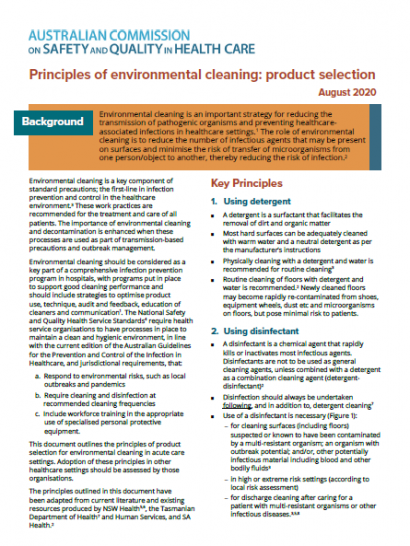 Environmental cleaning Product selection August 2020