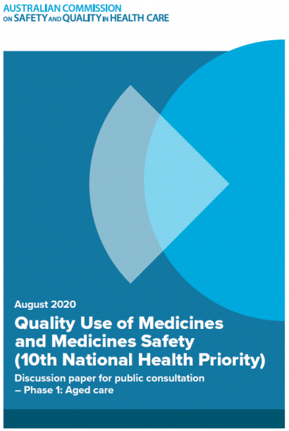 Front cover of quality use of medicines and medicines safety discussion paper