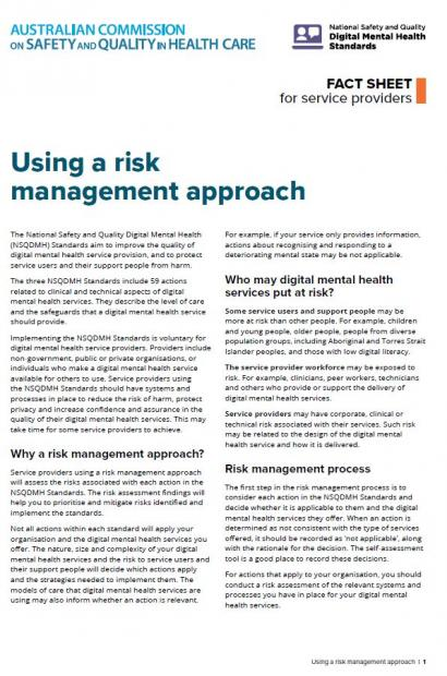 Fact sheet - Applying the NSQDMH Standards Using a Risk Management Approach